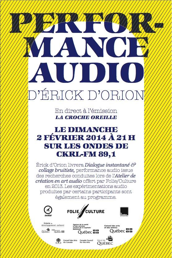 Atelier de création en art audio : présentation publique à l'émission La Croche Oreille sur les onde de CKRL