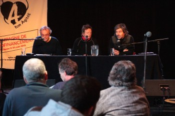 De gauche à droite : Gilles Simard, Jean-Pierre Guay, Pierre Mouterde